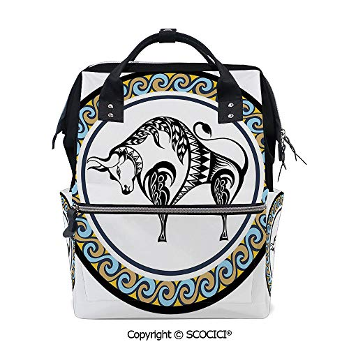 SCOCICI Large Couple Backpack handbag,Retro Style Ornamental Featured Circle with the Bull Zodiac Vintage Birthday Design Decorative,Multi Purpose Shoulder Backpack