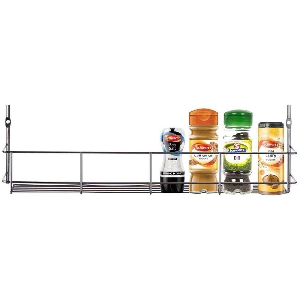 YonTree Tiers Steel Spice Rack Herb Jar Holder Cabinet Shelf Storage Wall Organization (1-Tier)
