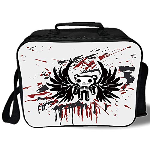 Halloween 3D Print Insulated Lunch Bag,Teddy Bones with Skull Face and Wings Dead Humor Funny Comic Terror Design,for Work/School/Picnic,Pearl Black Ruby -
