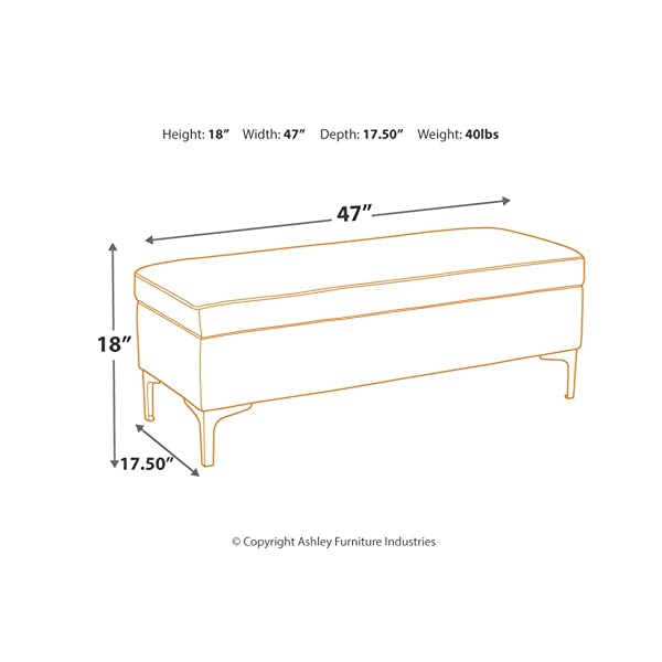 Signature Design by Ashley A3000118 Bachwich Storage Bench Gray/Gold