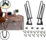Mrhardware Black Hairpin Metal Table Legs, Height 18 Inches 1/2 inch of Cold-Rolled Steel Bending -(Set of 4)(H18''-2Rod-1/2'')