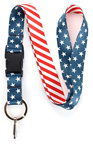 Buttonsmith Stars and Stripes Premium Lanyard with Buckle and Flat Ring - Made in The USA