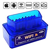 OBD2, OBD2 Scan Tool, Wsiiroon MINI Car WiFi OBD2 OBDII Scan Tool Auto Diagnostic Scanner Code Reader/Scan Tool Check Engine Light for IOS & Android (Blue).