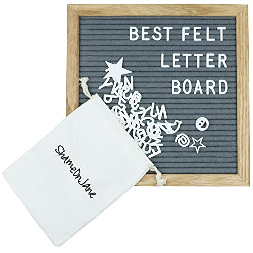 Announcement Letter - ShameOnJane Grey Changeable 10 x10 Felt Letter Board - Oak Wood Frame - Comes with Letters and Symbols for a Great Message Board, Letter Sign or Word Board for Announcements, Menus and Home Decoration