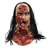 Halloween Horror Grimace Ghost Mask Scary Zombie Emulsion Skin with Hair Red