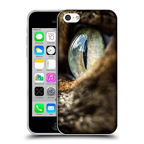 Just Phone Cases Coque de Protection TPU Silicone Case pour // V00004194 Vert oeil de chat gros plan // Apple iPhone 5C