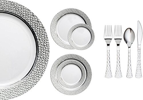 Royalty Settings Hammered Collection Disposable Plastic Plates for Parties for 80 Persons, Includes 80 Dinner Plates, 80 Salad Plates, 160 Forks, 80 Spoons, 80 Knives, White with Silver Rim -