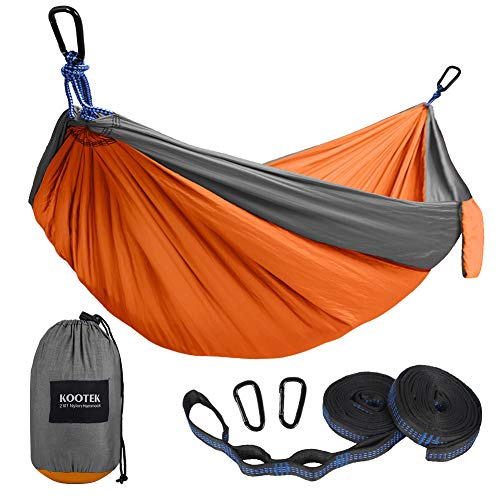 Kootek Camping Hammock Portable Indoor Outdoor Tree Hammock with 2 Hanging Straps, Lightweight Nylon Parachute Hammocks for Backpacking, Travel, Beach, Backyard, Hiking (Grey/Orange, L)