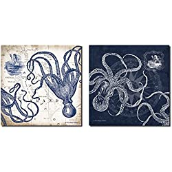 Gango Home Decor Mariner's Compass and Map Indigo and Grey Octopi Coastal Art; Two 12x12in Prints