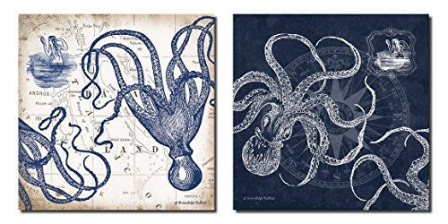 Gango Home Decor Mariner's Compass and Map Indigo and Grey Octopi Coastal Art; Two 12x12in Prints ()