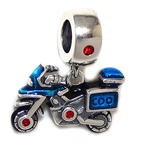 Pro Jewelry 925 Solid Sterling Silver Dangling Blue Street Bike Charm Bead