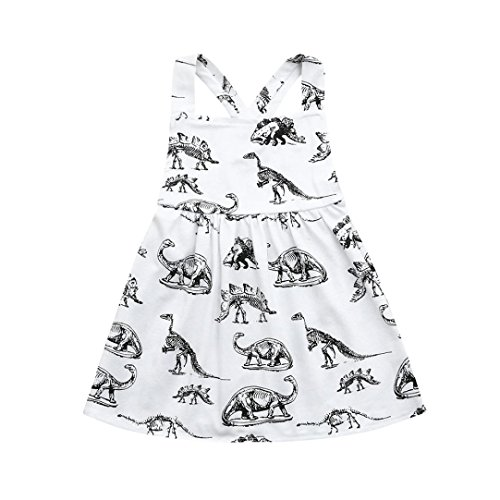 Lurryly Toddler Infant Baby Girls Dress Cartoon Dinosaur Print Dresses Clothing Outfits 0-3T (Size:18M, Label Size:90, White)