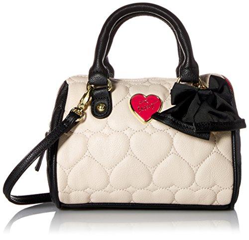 Betsey Johnson Be Mine Mini Crossbody Satchel Bag- Bone/black Be Mine Mini Bag