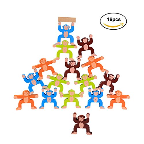 MIMIDOU Monkey Wooden Stacking Toy set of 16pcs Balancing Blocks Games Toddler Educational Block Toys for Kids Children. (Monkey 16pcs)