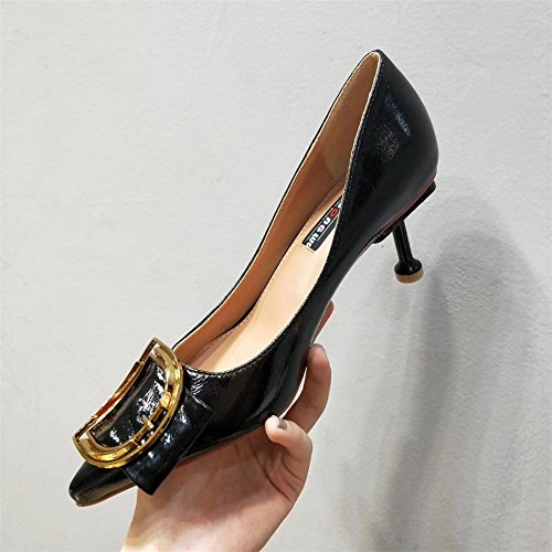 Shoes Leather Heel Prong Buckle High Shoes Women'S Black Shoes Light Stylish The Metal Painted 5PUEUq