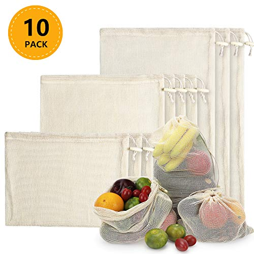 Reusable Produce Bags 10 PCS, Organic Cotton Mesh Bags for Fruit and Veg Grocery Shopping and Storage, ( S, M, L)
