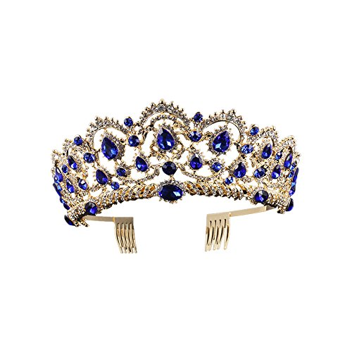 Baroque Royal Queen Gold Wedding Crown Crystal Princess Tiara Headbands for Women Bridal Party Birthday Headpieces (Blue)
