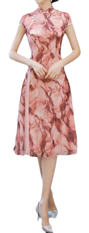 Etecredpow Women Swing Irregular Plain Printed Ethnic Style Split Cheongsam Dress Pink L