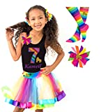 Kid Girls Roller Skate Shirt 7 Rainbow 7th Birthday Skating Outfit 4PC Gift Set Custom Personalized