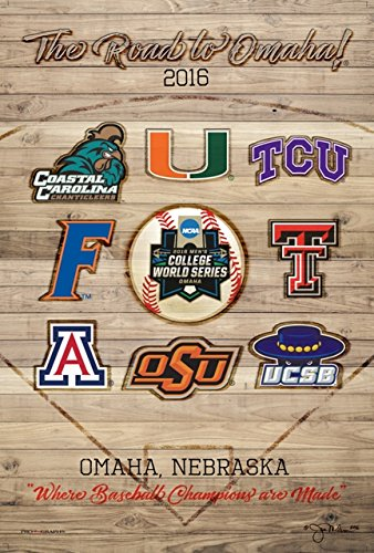 Pro Graphs 2016 NCAA Baseball College World Series The Road to Omaha 8 Team Print Poster -