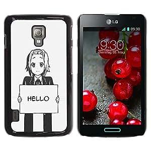 Paccase / SLIM PC / Aliminium Casa Carcasa Funda Case Cover para - Hello Grey Anime Japanese Cartoon Message - LG Optimus L7 II P710 / L7X P714