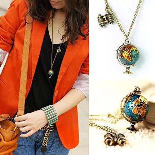 (Charm Globe Telescope Celebrity Bronze Pendant Long Chain Necklace Chain gift)