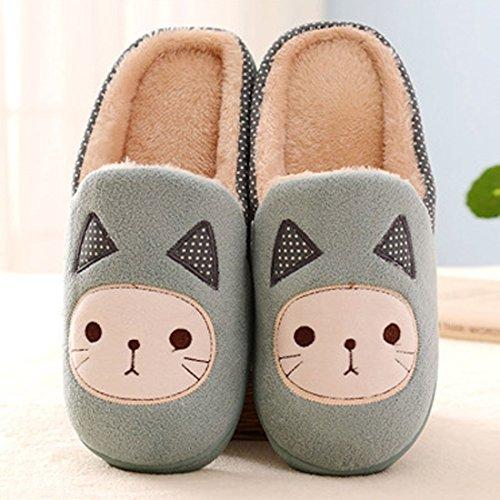 Maybest Womens Girls Autumn Winter Cotton Slippers Cartoon Cat Pattern Indoors Anti-Slip Flat Slippers Green GvRRBxJ