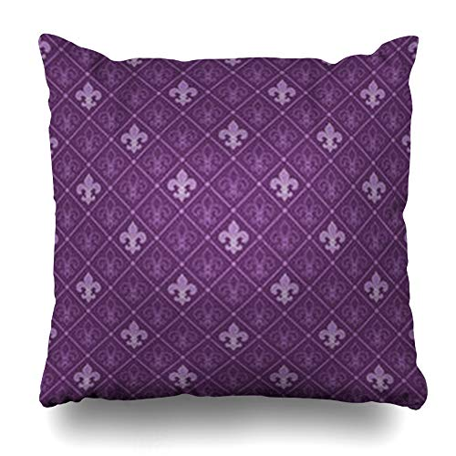 Alfredon Throw Pillow Covers Pattern Purple Wall Fleur De Lis Royal Ancient Medieval Classic LYS Retro Lisbackgrounds Pillowcase Square Size 16 x 16 Inches Home Decor Cushion Cases