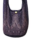 Lovely Creations's Hippie Boho New Elephant Crossbody Bohemian Gypsy Sling Shoulder Bag ''Medium'' Size (Peacock M Violet)