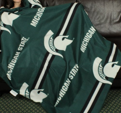 Michigan State Spartans NCAA Fleece Throw Blanket by (Fleece Michigan State Spartans Blanket)