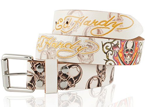 Ed Hardy EH1203 Flaming Skull Kids-Boys Leather Belt (Ed Hardy Fashion Belt)