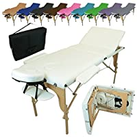 Vivezen Table de massage pliante 3 zones en bois avec panneau Reiki + Accessoires et housse de transport - 10 coloris - Norme CE - Blanc
