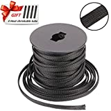 PET Braided Cable Sleeve 100ft - 1/4 inch Cable Management Sleeve Cables Organizer for Wrap and Protect Cables - Black Wire Loom Tubing