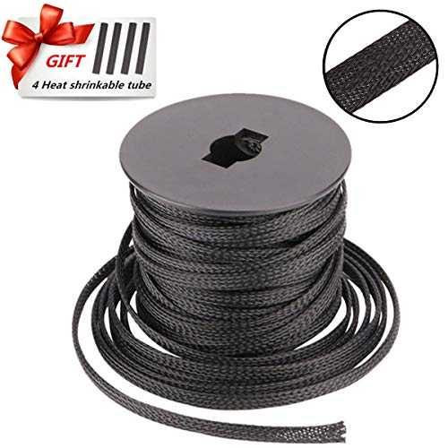 PET Braided Cable Sleeve 100ft - 1/2 Inch Cable Management Sleeve Cables Organizer for Wrap and Protect Cables - Black Wire Loom Tubing