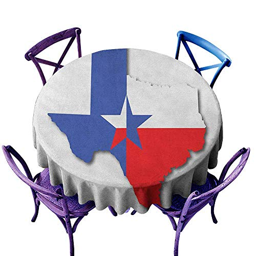 ONECUTE Round Solid Polyester Tablecloth,Texas Star Outline of The Texas Map American Southwest Austin Houston City,Party Decorations Table Cover Cloth,50 INCH Vermilion White Violet -