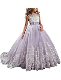 6a7146b8f Princess Lilac Long Girls Pageant Dresses Kids Prom Puffy Tulle Ball Gown