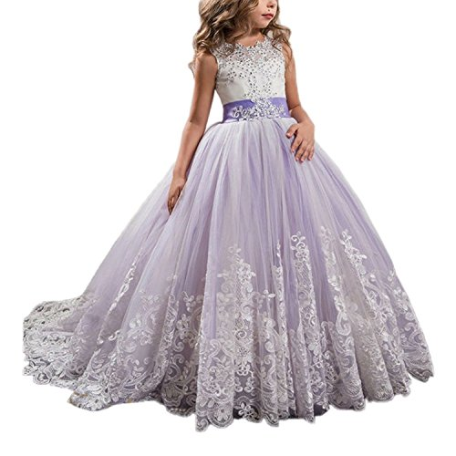 WDE Princess Lilac Long Girls Pageant Dresses Kids Prom Puffy Tulle Ball Gown ()