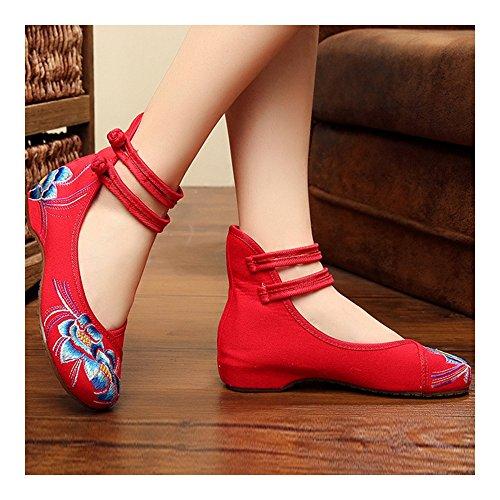 y Chino Flores de de Estilo Violetas Azules Zapatos Rojo Hojas Bordados qxS0RR