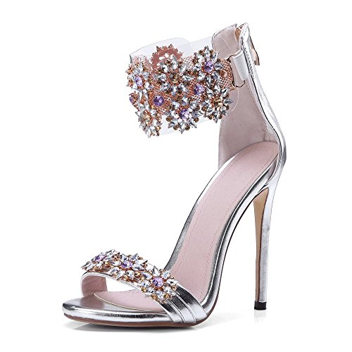 JF Women's Rhinestone Flower Crystal Peep Toe Wedding Dress High Heel Sandals (US 6.5-7, Silver)