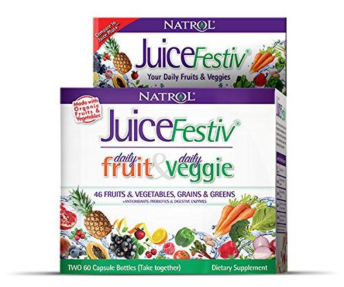 Natrol Juicefestiv Capsules, 60 Count FruitFestiv + 60 Count VeggieFestiv (2 bottles) (Fruit Supplement Vegetable)