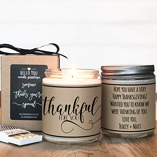 Thankful For You – Thank You Gift, Appreciation Gift, Soy Candle Gift