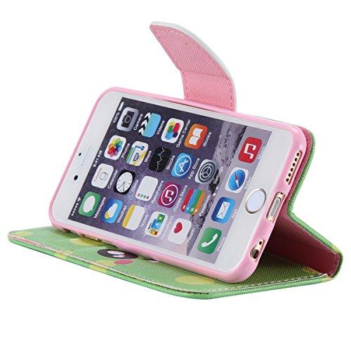 """iPhone 6 / iPhone 6S (4.7"""") Coque , Apple iPhone 6 / iPhone 6S (4.7-inch) Coque Lifetrut® [ Vert Pois sourire ] Luxe Premium Portefeuille Flip mignon Coque TPU souple Folio en cuir PU intégré dans la"""