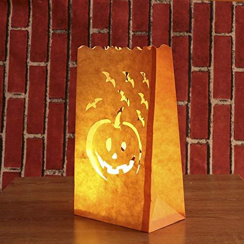 Party Diy Decorations - 12pcs Paper Candle Luminary Bag Bat Pumpkin Carved Tea Light Holder Decoration - Party Decorations Party Decorations Halloween Lantern Pumpkin Candle Luminara Unduli -