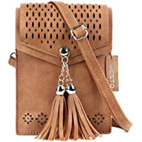 Women Small Crossbody Bag, seOSTO Tassel Cell Phone Purse Wallet Bags for Gril