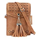 Women Small Crossbody Bag, seOSTO Tassel Cell Phone Purse Wallet Bags (Brown)