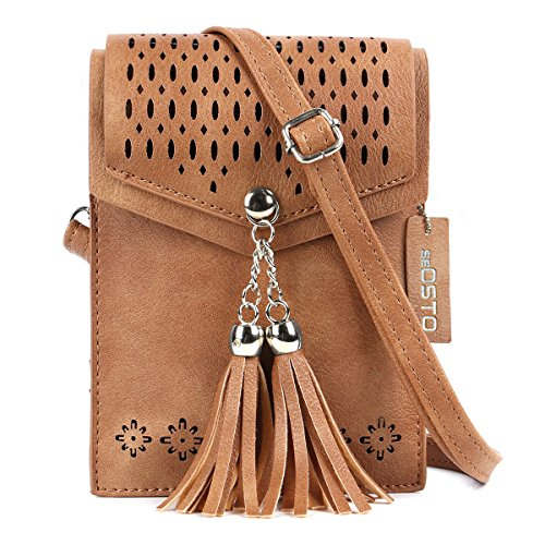seOSTO Women Small Crossbody Bag, Tassel Cell Phone Purse -