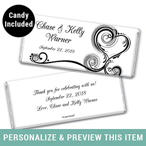 Wedding Reception Favors - Custom HERSHEY'S Candy Bar Wedding Favors in Black - 12 Fully Assembled
