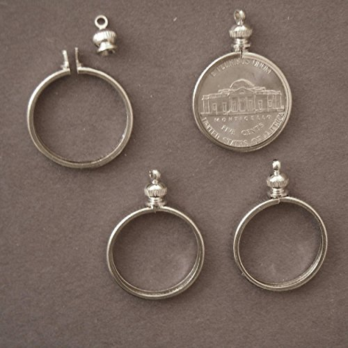 BeadExplosion Coin Holder Bezel for 5 Cent / USA Nickel ~ for Charm, Necklace, Pendant, Display (Pack of 4)