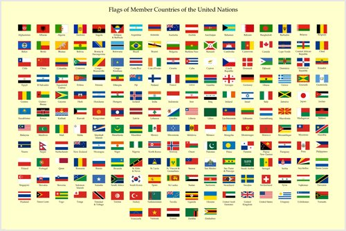 HSE United Nations Members Country Flag Political Poster Educational 24X36 ()