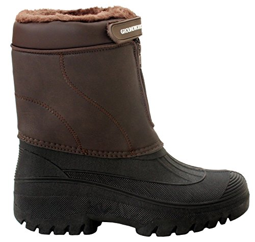 Mens Durable Groundwork Water Resistant Snow Boots Rain Thermal Fur Lined Winter Mud Mucker Boots UK Sizes 7-11 Brown/Black j2xvqDysB